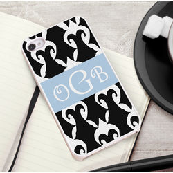 Black and White Damask iPhone Case with White Trim