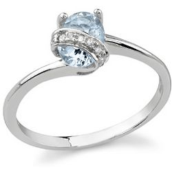 Diamond Swirl Aquamarine Ring in 14K White Gold