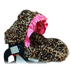 Lollipop Leopard Infant Car Seat Cover with Pink Ruffle Canopy