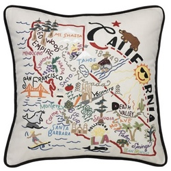 Hand Embroidered California Accent Pillow