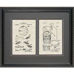 Basketball & Goal Framed Patent 16x20 Art Print