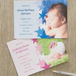 New Arrival Personalized Photo Baby Announcements