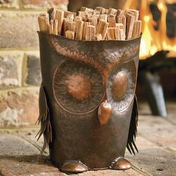 Handcrafted Metal Owl Fatwood Holder with Fatwood