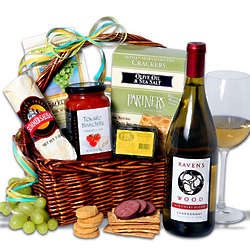 White Wine and Gourmet Snacks Gift Basket