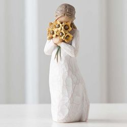 Warm Embrace Woman with Flowers Figurine