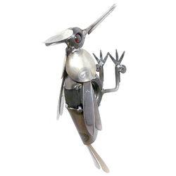 Handcrafted Metal Woodpecker Sculpture