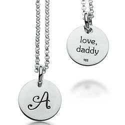 Girl's Personalized Initial Round Sterling Silver Pendant