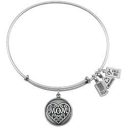 Engraveable Mom Charm Bangle Bracelet