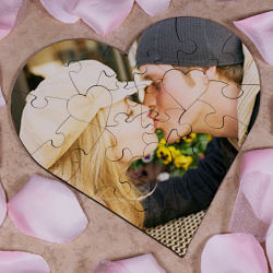 Personalized Photo Heart Shaped Wood Jig Saw Puzzle