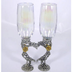 Rose Heart Chardonnay Toasting Glasses