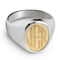 Men's 14K Gold Monogram Ring