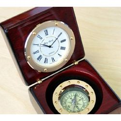 Compass Clock in Engravable Rosewood Case