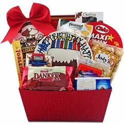 Happy Birthday Gift Basket with Birthday Cake Plate