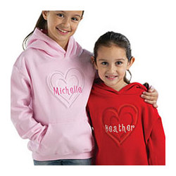 Personalized Embossed Heart with Embroidered Name Hoodie