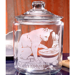 Personalized Cat in the Kitchen Cookie Jar
