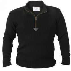 Black Quarter Zip Acrylic Commando Sweater