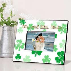 Personalized Raining Shamrocks Irish Picture Frame