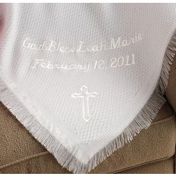 Personalized Embroidered Cross Baptism Throw