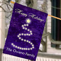 Personalized Happy Holidays Christmas House Flag