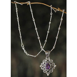 Lilac Scroll Amethyst Pendant Necklace
