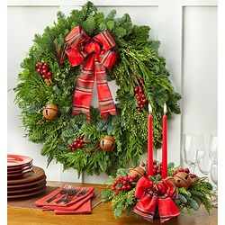 Festive Holiday Wreath and Centerpiece