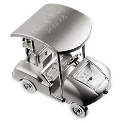 Engraved Silver Golf Cart Clock