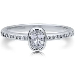 Oval CZ Solitaire Sterling Silver Promise Engagement Ring