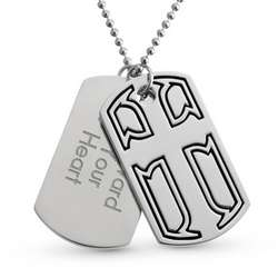 Cross Double Engraved Dog Tag