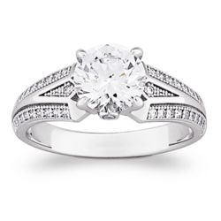 Cubic Zirconia Sterling Silver Solitaire Vintage Inspired Ring
