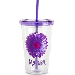 Personalized On the Go Purple Flower Tumbler