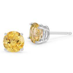 14K White Gold Citrine Stud Earrings