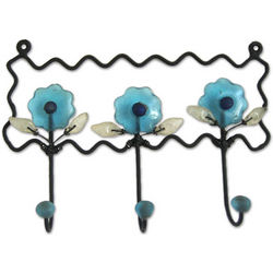 Bloom in Blue Iron and Recycled Glass Coat Rack