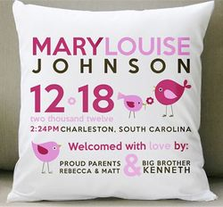 Birth Announcement New Baby Birdie Pillow