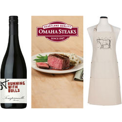 Tempranillo Wine, Apron and Omaha Steaks Gift Set