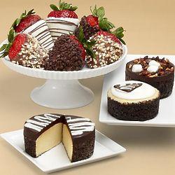 Cheesecake Trio and Half Dozen Chocolate-Dipped Strawberries