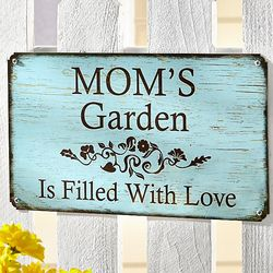 Personalized Garden is Filled with Love Metal Sign