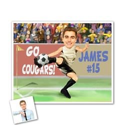 I Love Soccer Caricature Print from Photo