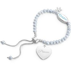 Girl's Blue Pearl Dream Bracelet with Filigree Heart