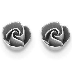14K White Gold Rose Earrings