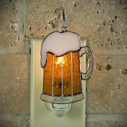 Beer Mug Stained Glass Ornament Night Light