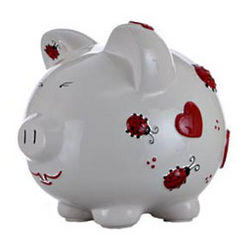 Personalized Ceramic Ladybug Piggy Bank