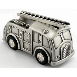 Engravable Fire Truck Coin Bank