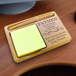 Personalized Someone To Look Up To Wooden Notepad and Pen Holder