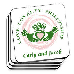 Personalized Irish Family Claddagh Coasters