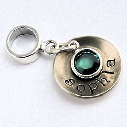 Personalized Name and Birthstone European Charm