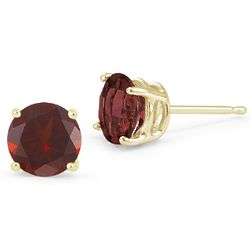 14K Yellow Gold Garnet Stud Earrings