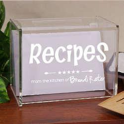 Engraved Kitchen Recipe Acrylic Recipe Box