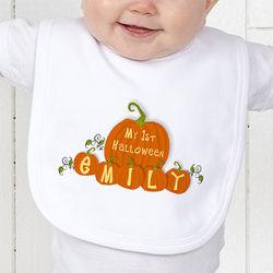 Personalized Baby's First Halloween Pumpkin Bib