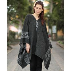 Gray Black Glyphs Reversible Alpaca Wool Poncho