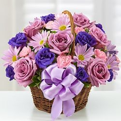Purple and Lavender Small Basket of Blooms for Mom